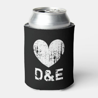 Vintage black and white heart wedding can coolers can cooler