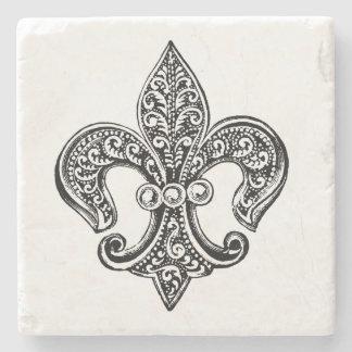 Vintage Black and White Lacy Fleur De Lis Stone Coaster