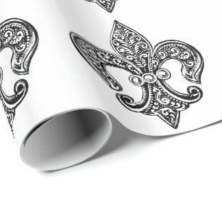 Vintage Black and White Lacy Fleur De Lis Wrapping Paper