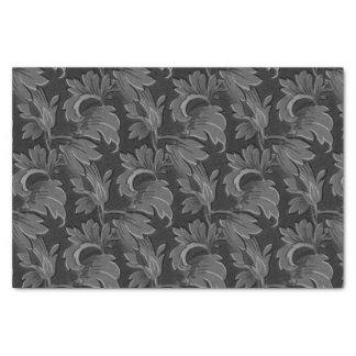 Vintage Black and White Leaf Flora Pattern Tissue Paper