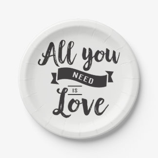 Vintage Black And White Love Wedding Paper Plate
