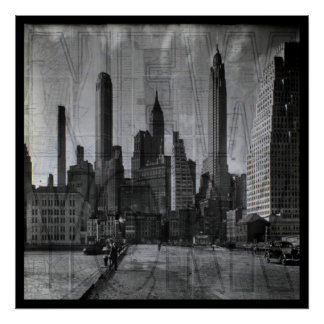Vintage black and White New York over Map Poster