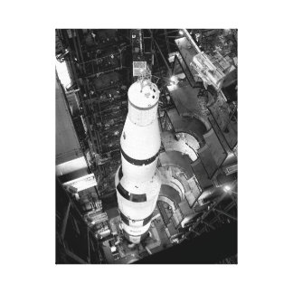 Vintage Black and White Photograph of Saturn V Canvas Print