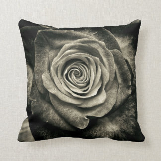 Vintage Black and White Rose Throw Pillow