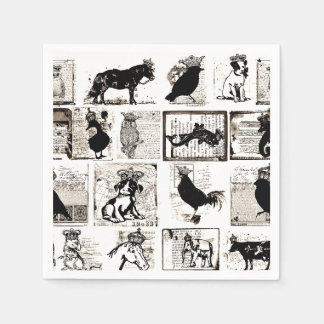 Vintage Black And White Royal Animals Paper Napkins