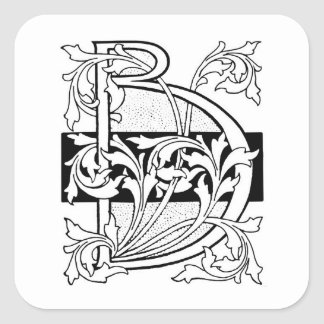 Vintage Black Art Deco Monogram B Floral Stickers