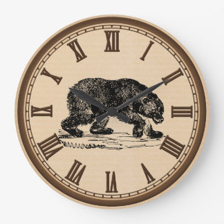 Vintage Black bear roman number wall clock