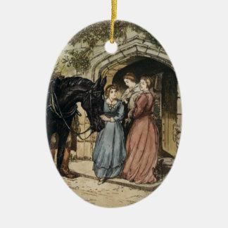 Vintage Black Beauty and Miss Ellen Ceramic Oval Ornament