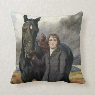 Vintage Black Beauty horse from Sewell book Throw Pillow