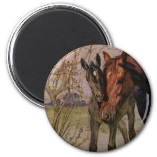"Vintage Black Beauty horse ""My Mother and I"" 2 Inch Round Magnet"