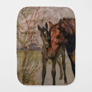 """Vintage Black Beauty horse """"My Mother and I"""" Baby Burp Cloths"""