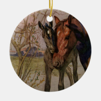 """Vintage Black Beauty horse """"My Mother and I"""" Ceramic Ornament"""