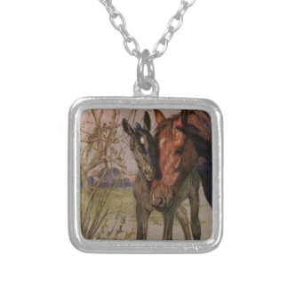 "Vintage Black Beauty horse ""My Mother and I"" Silver Plated Necklace"