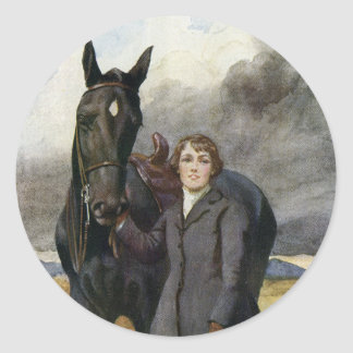 Vintage Black Beauty Horse Painting Sewell Welch Round Sticker