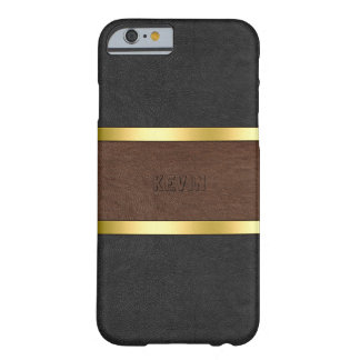 Vintage Black & Brown Leather With Gold Accents Barely There iPhone 6 Case