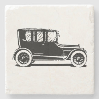Vintage Black Car Illustration Stone Coaster