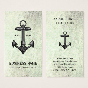 Nautical design business cards business card printing zazzle ca vintage black cast iron anchor nautical boating business card reheart Choice Image