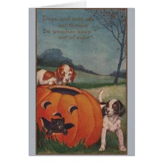 Vintage Black Cat and Beagles Halloween Card