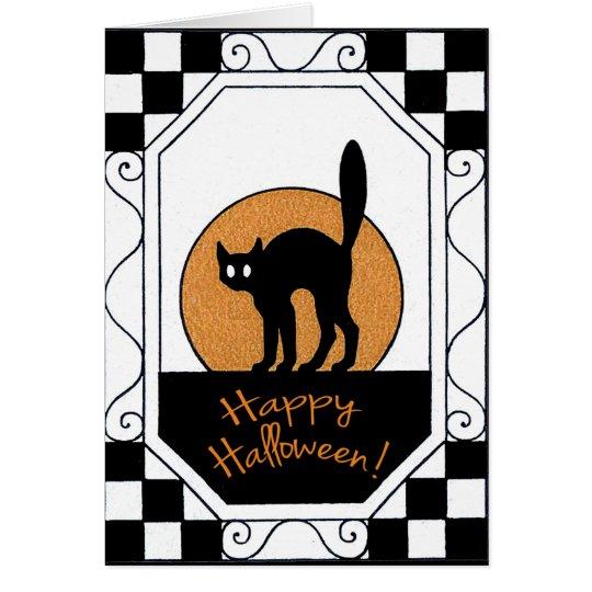 Vintage Black Cat and Moon Halloween Card