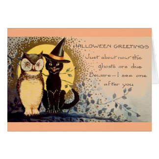 Vintage Black Cat and Owl Halloween Greeting Card