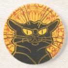 Vintage Black Cat Art Nouveau Chat Noir Steinlen Coaster