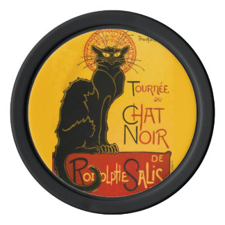 Vintage Black Cat Art Nouveau Paris Cute Chat Noir Poker Chips