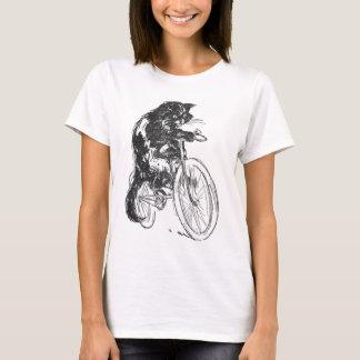 Vintage Black Cat On Bicycle T-Shirt