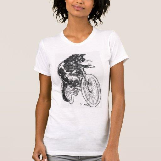 Vintage Black Cat On Bicycle Tshirt
