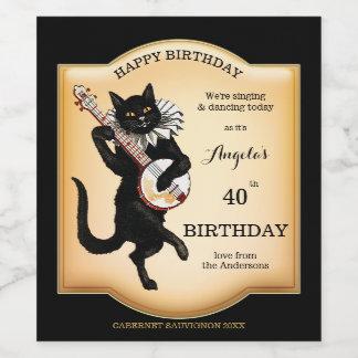 Vintage Black Cat Personalized Wine Label