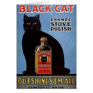 Vintage Black Cat Stove Polish Ad Note Card