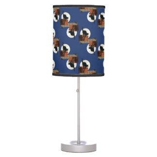 Vintage Black Cats in the Moonlight Table Lamp
