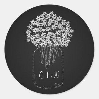 Vintage Black Chalkboard Mason Jar Flowers Wedding Round Sticker