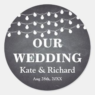 Vintage Black Chalkboard  String Lights Wedding Round Sticker