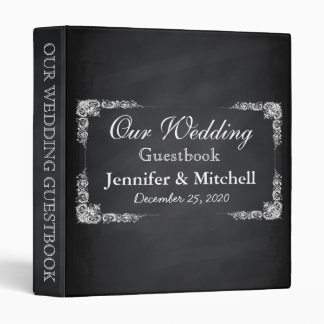 Vintage Black Chalkboard Wedding Guestbook Binder