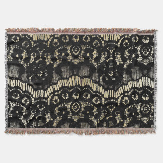 Vintage black elegant french floral lace faux gold throw blanket