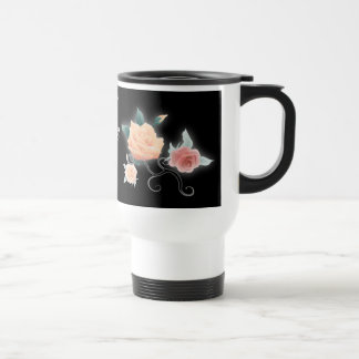 vintage black floral botanical wedding 15 oz stainless steel travel mug