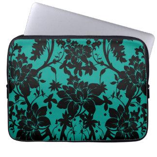 Vintage black floral design on Peacock green Laptop Computer Sleeves