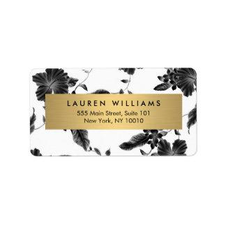 Vintage Black Floral Pattern Label