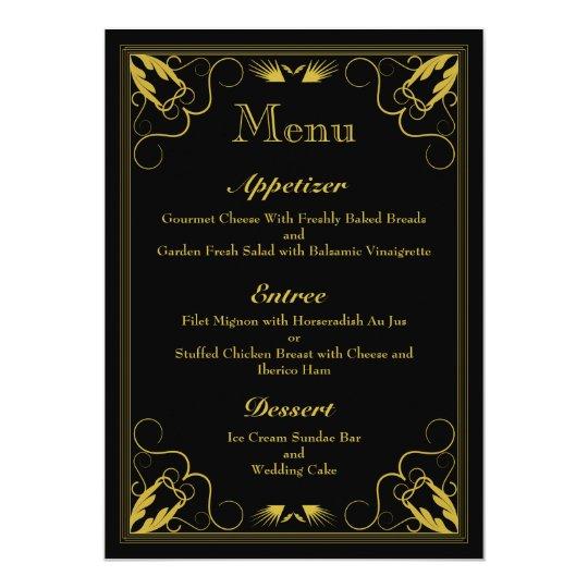 Vintage Black Gold Gilded Age Wedding Menu Card