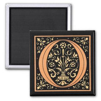 Vintage Black & Gold Letter 'O' Square Magnet