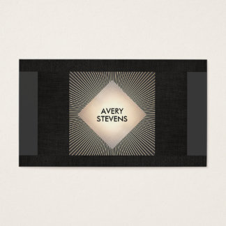 Vintage Black Gold Sunburst Professional Designer Business Card