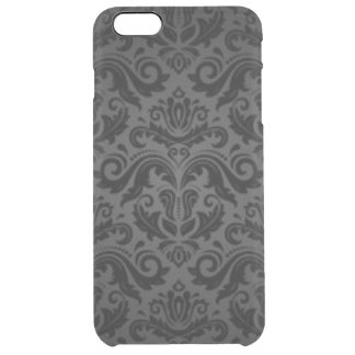 Vintage Black & Gray Damask Clear iPhone 6 Plus Case