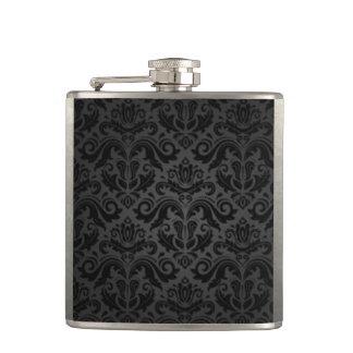 Vintage Black & Gray Damask Hip Flask