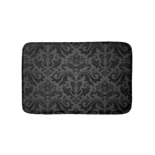 Vintage Black & Grey Damask Bath Mat