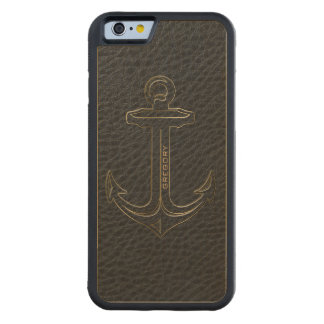 Vintage Black Leather, Nautical Anchor Gold Accent Carved Maple iPhone 6 Bumper Case