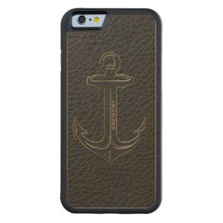 Vintage Black Leather, Nautical Anchor Gold Accent Maple iPhone 6 Bumper Case
