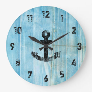 Vintage Black Nautical Anchor on Rustic Blue Wood Large Clock