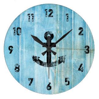 Vintage Black Nautical Anchor on Rustic Blue Wood Wallclocks