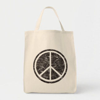 Vintage Black Peace Sign Tote Bag