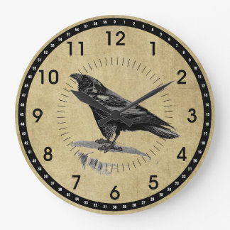 Vintage Black Raven Round Wall Clock